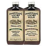 Chamberlain's Leather Milk - Straight Cleaner Nr. 2 & Furniture Treatment Nr. 5 - Set aus Reiniger & Conditioner für Ledermöbel - Naturbasis/ungiftig - Hergestellt in den USA - 2 Auftragepads - 0.35 L