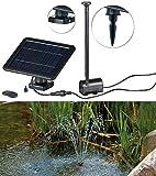 Royal Gardineer Teichpumpe: Teich- und Springbrunnen-Pumpe mit 2-Watt-Solarpanel und Akkubetrieb (Solar-Pumpe)
