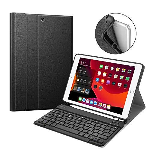 Fintie Tastatur Hülle für iPad 10.2 Zoll 2019, Soft TPU Rückseite Gehäuse Keyboard Case mit Pencil Halter, magnetisch Abnehmbarer drahtloser Bluetooth Tastatur mit QWERTZ Layout, Schwarz