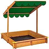 TecTake 800345 Sandkasten, Schwenkbares und Höhenverstellbares Sonnendach, Wurzelfeste Bodenplane - Diverse Farben (Grün | Nr. 402222)