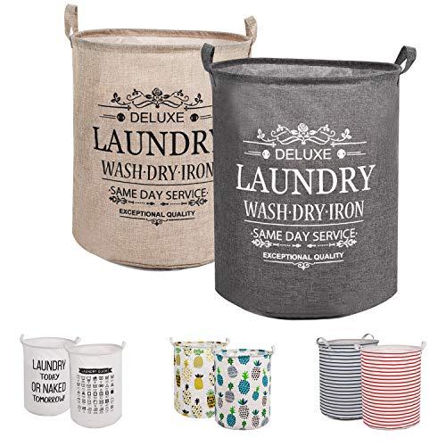 LessMo 2PCS 17.7' Wäschekorb Sortierer - Faltbar - 2er Set Wäschesammler spart Zeit beim Sortieren - Wäschesack - Wäschekörbe - Laundry Baskets - 45 x 35 cm(Grün/Gelb, Verdickt 17,7'/ Medium)