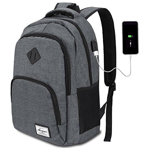AUGUR Laptop Rucksack Herren Arbeit Rucksack Schulrucksack mit USB-Ladeanschluss für Business Wandern Reisen Camping,Oxford,20-35L