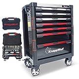 KnappWulf Werkzeugwagen KW533 Werkzeugkoffer Werkstattwagen Werkzeugkasten gefüllt mit Werkzeug inklusive Ratschenkasten KW4033