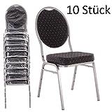 Bankettstühle 10er Set schwarz – Stapelstühle Konferenzstühle Saalstühle für Gastronomie und Gewerbe - stapelbar und sehr stabil