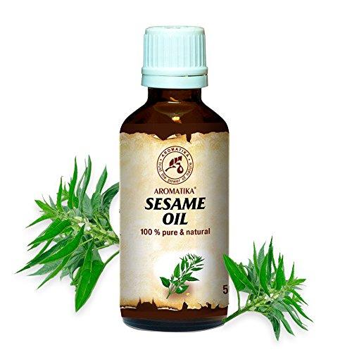Sesam Öl, kaltgepresst und raffiniert, 100% naturreines und reines 50 ml, Sesamöl, Glasflasche, Basisöl, Mexican, reich an Vitaminen, Mineralien und Vitamin E, Körperöl, intensive Pflege für Gesicht, Körper, Haare, Haut, Nägel, Hände, Anti-Falten /Anti-Aging, rein verwendet, gut mit ätherischem Öl / für Schönheit / Beauty /Aromatherapie / Entspannung / Massage / Wellness / Kosmetik / Körperpflege / Entspannung / Sesame Oil von AROMATIKA