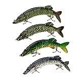 Lixada Angeln Köder harte Köder Multi gelenkartigen 8-Segment Pike Muskie Swimbait Crankbait Fisch Höhen Haken Tackle 8'/20cm 66g(4 PCS)
