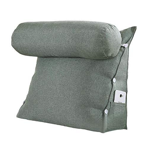 VERCART Rückenkissen Nackenrolle Wedge Pillow tv Kissen für Sofa Bett Leinen Muttertags Geschenk Dunkelgrün 45x45x20cm