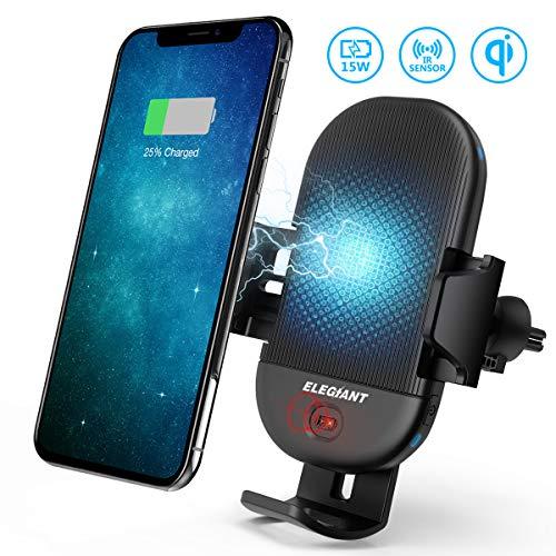 ELEGIANT Wireless Charger Auto Qi Automatisch kfz-ladegerät mit Infrarot Sensor intelligenten Handyhalterung induktions ladegerät 15W MAX mit Lüftungshalterung für Galaxy iPhone alle Qi Fähige Geräte