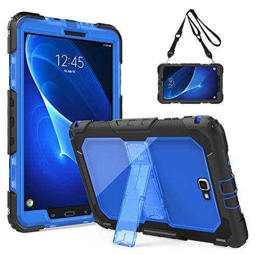 TiMOVO Hülle Kompatibel mit Galaxy Tab A 10.1' 2016 Release (SM-T580/T585, Ohne Stift Version), Ganzkörperabdeckung Schutzhülle Nicht für Tab A 10.1 2019 (T510/T515), Schwarz und Blau