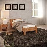 Krokwood Seniorenbett SiSi Massivholzbett in Buche in Komforthöhe FSC 100% Massiv Einzelbett, Natur geölt Buchebett, Billig Holzbett mit Kopfteil, massivholz Bett vom Hersteller (100 x 200 cm)