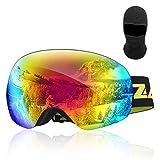 Zacro Skibrille Snowboardbrille 100% UV400-Schutz OTG Doppellinsenbrille für Herren und Damen, Grün