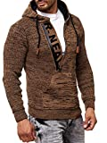 Baxboy Herren Strick-Pullover Zipper Kapuzenpullover Strickjacke mit Kapuze Gr. S bis 4XL RN-13277, Größe:M, Farbe:Camel/Marine