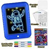 EKKONG 3D Magic LED Schreibtafel, Magic Pad Mit 3 Magischer Stift,Zeichnung Pad, Wiederverwendbare Tragbare Zeichenbrett für Kinder,Zeichnen, Lernen, Schreiben
