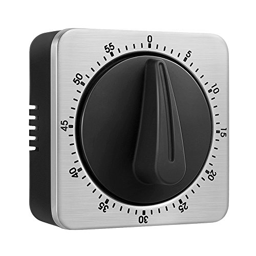 JUNDUN Küchentimer Eieruhren 60 Minute Timing mit 80dB Alarm Sound Magnetic Countdown Timer Home Backen Kochen Steaming Manual Timer Edelstahl Gesicht Mechanische Timer KeeQii