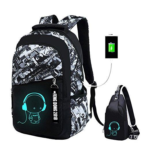 JUND Oxford-gewebe Schulrucksack für Jungen Schulrucksack Druck Rucksack Jugendlichen Schultasche Outdoor Reflektierender Daypack