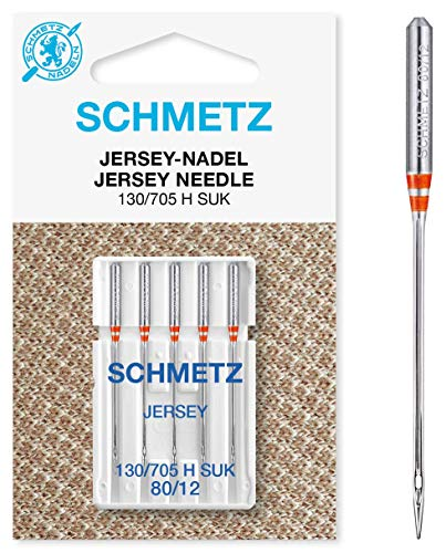 SCHMETZ Nähmaschinennadel 130/705 H SUK | 5 Jersey-Nadeln | Nadeldicke: 80/12