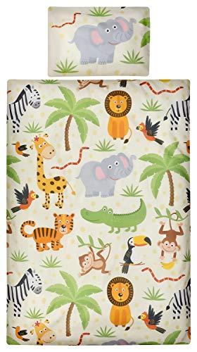 Aminata Kids Kinder-Bettwäsche 100-x-135 cm Zoo-Tier-e Safari Waldtier-e Dschungel Afrika Baby-Bettwäsche 100-% Baumwolle Renforce beige bunt Junge-n und Mädchen