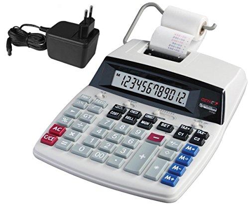 Genie D69 Plus Druckender Tischrechner (Netzteil, 12-stelliger Rechner, rot und schwarz Druck (Tintenroller))