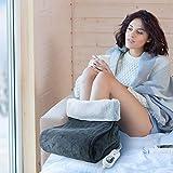 Grafner 100 Watt elektrischer Fußwärmer   3 Temperaturstufen   mit Teddyfutter   waschbar   Abschaltautomatik   nie wieder kalte Füße   Fußsack   grau