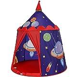 SONGMICS Spielzelt, Prinzenschloss Zelt für Jungs Kleinkinder, Spielhaus für innen und außen, tragbares Pop-Up Indianerzelt Tipi mit Tragetasche, Geschenk für Kinder, Blau LPT01BU
