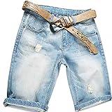 AITESEN Herren Denim Bermuda Jeans Shorts Sommer Kurze Hose Blau Ohne Guertel W34
