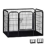 Relaxdays Welpenauslauf Größe M mit Boden, Laufstall für kleine Hunde, Kaninchen und Welpen, Innen, 63x90x63 cm, schwarz