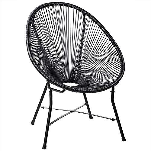Deuba Acapulco Sessel Stuhl schwarz | Retro Design | Indoor & Outdoor | Wetterfest & Pflegeleicht | Gartenstuhl Chair