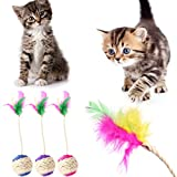 YFairy Katzenspielzeug - Haustier Katze Kätzchen-Spielzeug Rollen Ball Kratzen Becher Interaktive Puppe Mit Feder