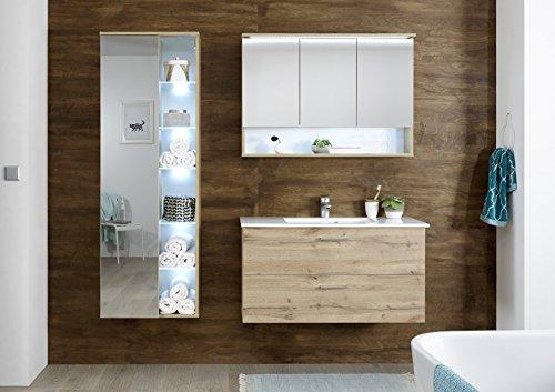 Badmöbel 'BEST' 3-tlg Badezimmer Set Badmöbel Badezimmermöbel Wildeiche Beleuchtung