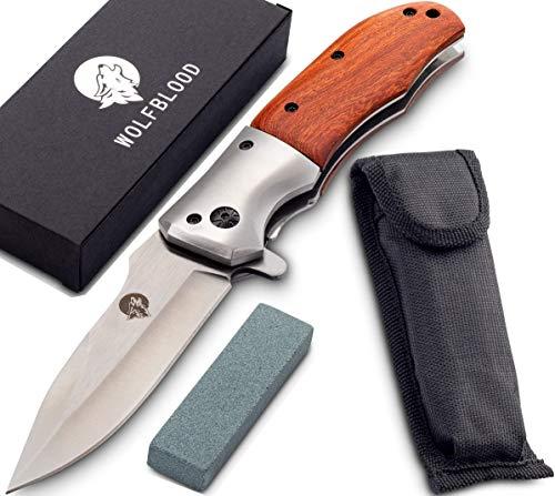 Wolfblood Klappmesser - extra scharfes Taschenmesser mit Schleifstein und Gürteltasche - Outdoor Messer aus speziell gehärteter Edelstahlklinge und Edelholzgriff - Zweihandmesser