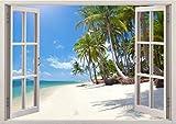 3D-Wandbild Geöffnetes Fenster - großformatig aus hochwertigem Vinyl - wiederverwendbar - Poster Blick aus dem Fenster - Wandtattoo Wohnzimmer - 3D Fototapete Strand und Meer 85 x 115 cm
