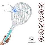 MojiDecor Elektrische Fliegenklatsche Fliegenfänger Moskito Zapper/Insektenvernichter mit LED-Beleuchtung - USB wiederaufladbar - Doppelte Schichten Mesh Schutz|MEHRWEG