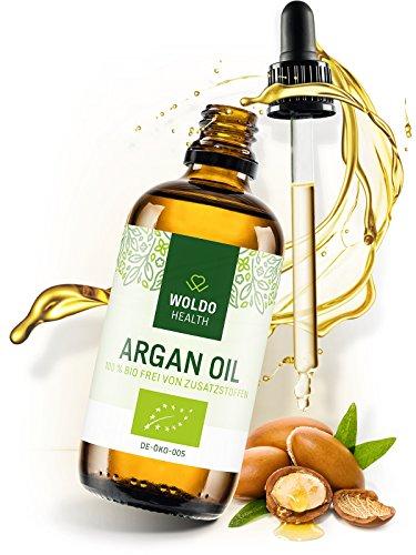 WoldoHealth I Bio Arganöl aus Marokko I 100% rein kaltgepresst I 100ml I Vegan I Argan Öl in Lichtschutz Glas-Flasche I Gesichtspflege