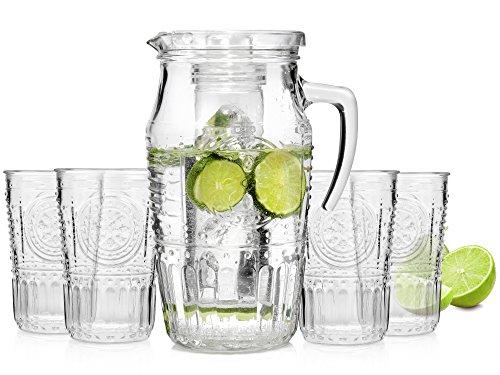 Bluespoon Karaffe mit Gläsern 5 teilig | Wasserkaraffe | Füllmenge Karaffe 1,6 L | Füllmenge Gläser 340 ml | Dank Eiseinsatz genießen Sie immer kalte Getränke