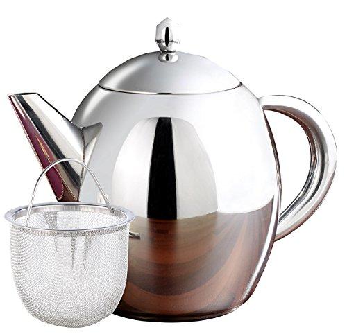 Rosenstein & Söhne Teekrug: Edelstahl-Teekanne mit Siebeinsatz, 1,75 Liter, spülmaschinenfest (Teekanne Edelstahl mit Sieb)