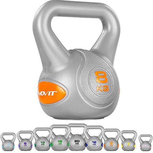 MOVIT Kettlebell mit bodenschonender Kunststoffummantelung Schwunghantel Kugelhantel Kugelgewicht 8 kg orange
