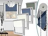 """Seitenzugrollo """"Blackout"""" in 4 Farben & in 6 Größen - Verdunkelungsrollo mit reflektierender Rückseite – kinderleichte 3-Step Montage, ca. 60 x 150 cm, blau"""