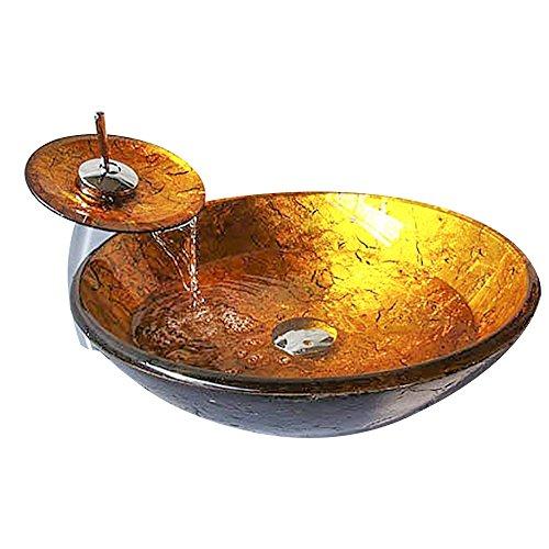 Homelavafans Modern Waschbecken Set Rund Gold Gehärtetes Glas Aufsatz Waschschale mit Wasserfall Wasserhahn