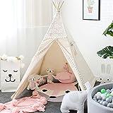 Lebze Tipi Spielzelt für Kinder Baumwolle Segeltuch - Spitzen Tipi Zelt für Mädchen