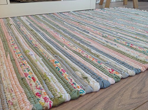 Recycelte Baumwolle Flickenteppich, pastellfarben, mehrfarbig, 120 cm x 180 cm (Second Nature exklusive)