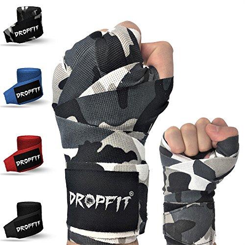 DROPFIT Boxbandagen mit Daumenschlaufe (4m) inkl Stofftasche - Halb-Elastische Boxbandage mit Extra Breitem Klettverschluss - Bandagen für Kampfsport (Camouflage)
