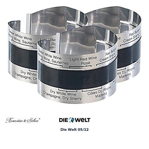 Rosenstein & Söhne Wein-Außenthermometer: Praktisches Flaschen-Thermometer für Wein, Sekt, Saft u.v.m, 3er-Set (Weinzubehör)