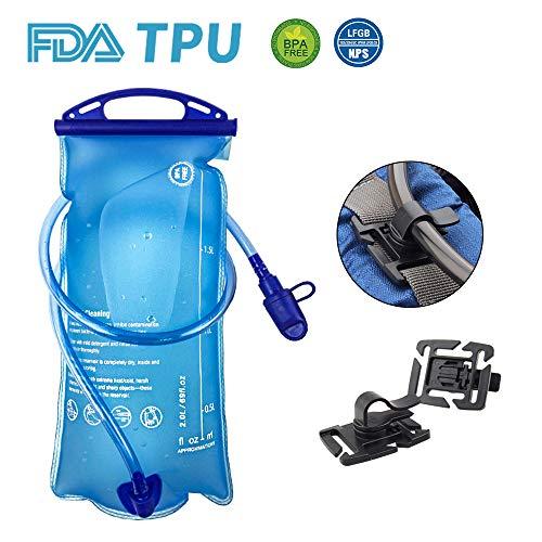 OFUN 2L trinkblase mit Beissventil Trinkbeutel Sport BPA-frei mit Großer Öffnung, FDA Geprüfter antibakteriell auslaufsicher Trinksystem + Clip ideal für Rucksack Radfahren