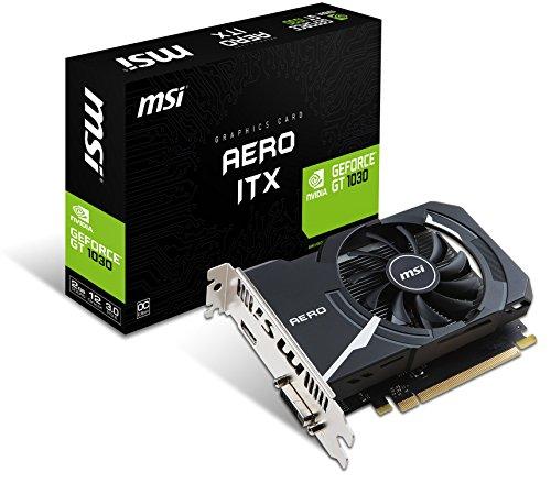 MSI GeForce GT 1030 Aero ITX 2G OC 2GB Nvidia GDDR5 1x HDMI, SL-DVI-D, 2 Slot Mini PC, Afterburner OC, Grafikkarte