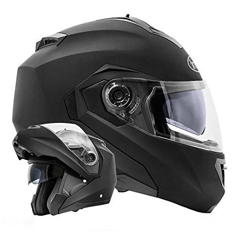ATO-Moto Montreal Schwarz matt Größe L 59-60cm Klapphelm mit Doppelvisier System und der neusten Sicherheitsnorm ECE 2205