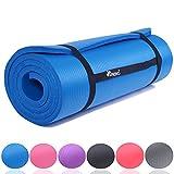 TRESKO Fitnessmatte Yogamatte Pilatesmatte Gymnastikmatte in 6 Farbvarianten / Maße 185cm x 60cm in 2 Stärken / Phthalates-getestet / NBR Schaumstoff / hautfreundlich, anschmiegsam, kälteisolierend (Blau, 185 x 60 x 1.5 cm)