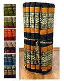 Kapok Rollmatte in 190cm x 75cm x 4,5cm der Marke Asia Wohnstudio; Liegematte bzw. Yogamatte, Thaikissen, Thaimatte als asiatische Rollmatratze (schwarz / orange)