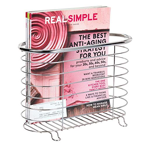 mDesign freistehender Zeitungshalter fürs Badezimmer - schöner Zeitschriftensammler aus Metall - schickes Badzubehör für Zeitungen, Magazine, Bücher und Co. - silberfarben