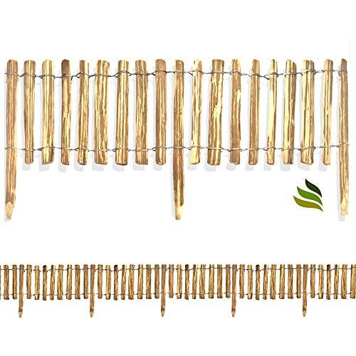 Floranica Rollzaun aus Haselnuss Holz in 8 Größen, Integrierte Pfosten, imprägnierter getackerter Steckzaun, gut gespaltene Staketen sichere Spitzen, Lattenabstand:4-6 cm, Größe:50 cm / 500 cm lang
