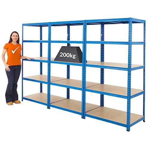 Mega Deal | Set aus 3x Schwerlastregal (Tiefe 60 cm) | Fachlast 200 kg pro Fachboden | Metallregal Kellerregal Lagerregal Werkstattregal Garagenregal |Belastbar mit 1000 kg